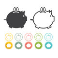 Piggy bank icon Pictograph of moneybox set Vector black Yellow pink Royalty Free Stock Photo