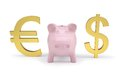 Piggy bank next to dollar and euro signs Stock Photo