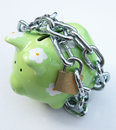 Piggy bank with padlock Royalty Free Stock Photo