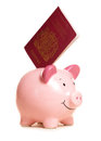 Piggy bank with passport Royalty Free Stock Photos