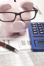 Piggy bank pink and calculator Stock Image
