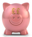 Piggy bank pound sterling with eyes sign clipping path included Royalty Free Stock Image