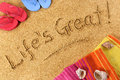 Life is Great, summer beach vacation freedom happiness concept Royalty Free Stock Photo