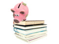 Piggy bank in risk situation on white background Stock Image