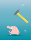 Piggy bank running from the falling hammer Stock Image