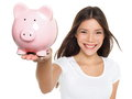 Piggy bank savings woman smiling happy female holding pink isolated on white background multi ethnic chinese asian Royalty Free Stock Photos