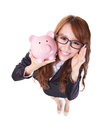 Piggy bank savings woman smiling happy and holding pink isolated on white background asian girl Royalty Free Stock Photo
