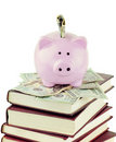 Piggy Bank and School Books Royalty Free Stock Image