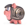 Piggy bank shield secured with steel door and access code clipping path included Royalty Free Stock Photo