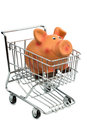 Piggy bank shopping cart photo icon shopping inflation economy Royalty Free Stock Image