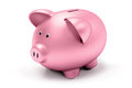 Piggy bank single pink a white background Royalty Free Stock Photo