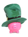 Piggy bank st patricks day studio cutout Royalty Free Stock Photos