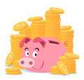 Piggy bank surrounded by stack of gold coin Royalty Free Stock Photo