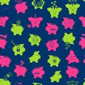 Piggy Bank Seamless Pattern Background. Vector Royalty Free Stock Photo