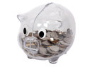 Piggy bank transparent isolated on white background Stock Photos