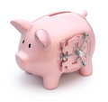 Piggy bank with vault door Stock Images
