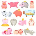 Piggy bank vector money pig box financial bank or money-box with investment savings and coins illustration set of Royalty Free Stock Photo