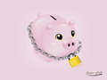 Piggy bank that was locked Royalty Free Stock Photo