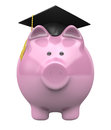 Piggy bank wearing a graduation cap savings fund for college education conceptual image of future higher tuition costs Stock Image