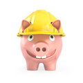 Piggy bank wears yellow helmet, front view Stock Image