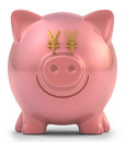 Piggy bank yen with eyes sign clipping path included Stock Photo