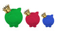 Piggy banks with crown on white background Stock Image