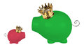 Piggy banks with crowns on white background Stock Photo