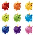 Prasiatko banky v odlišný farby