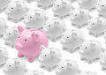Piggy banks group of white and big pink bank Stock Image