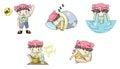 Piggy boy cartoon icon in various action set 1 Royalty Free Stock Photo