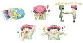 Piggy boy cartoon icon in various action set create by vector Royalty Free Stock Image