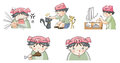 Piggy boy cartoon icon in various action set create by vector Royalty Free Stock Photography