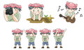 Piggy boy cartoon icon in various action set create by vector Royalty Free Stock Photo