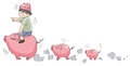 Piggy boy leading little pigs (set 9) Royalty Free Stock Photo
