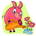 Piggy gardener watering flowers Royalty Free Stock Photos