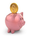 Piggy gold coin bank with clipping path included Stock Photo