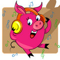 Piggy listening music  illustration. Stock Images