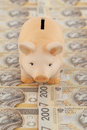 Piggy with money pink on polish as background Stock Photography