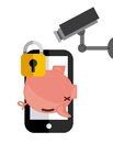 Piggy smartphone cctv and padlock icon. Vector graphic