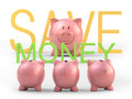 Piggy teacher bank teaching how to save money clipping path included Stock Image