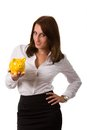 Piggybank business woman with a Stock Photos