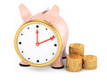 Piggybank with clock face and stack of gold coins on white d rendered image Royalty Free Stock Photos