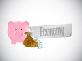 Piggybank economy sign illustration design over a white background Royalty Free Stock Photos
