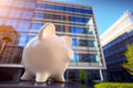 Piggybank in financial district photo of a Stock Image