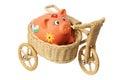 Piggybank on Miniature Sidecar Royalty Free Stock Photo