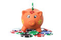 Piggybank and Poker Chips Stock Images