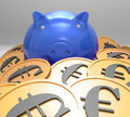 Piggybank Surrounded In Coins Showing European Savings Royalty Free Stock Image