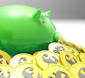 Piggybank surrounded in coins shows european incomes and profits Royalty Free Stock Photo