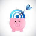 Piggybank and target illustration design over a white background Royalty Free Stock Photography