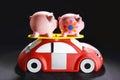 Piggybanks en toy car Fotografía de archivo